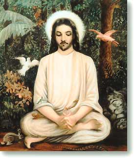 Jesus Meditating in the Forest, painted at the direction of Swami Trigunatitananda