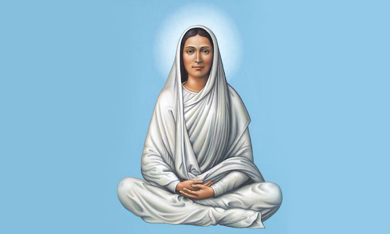 Virgin Mary seated indian style